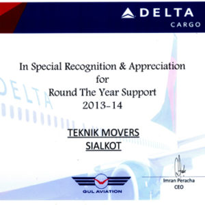 CQR Sialkot named best supporting agent to Delta Airways