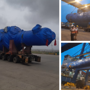 Conqueror member in Pune and Bangalore transports an oversized column of a boiler