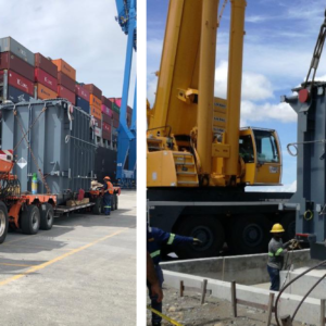 Panama Soluciones Logisticas Intl moves a transformer of 104 tons as part of a Solar Energy Project in Panama