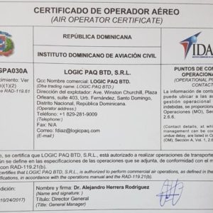 Conqueror Santo Domingo has obtained the AOC certificate which will allow them to act as the Air Operator for commercial purposes