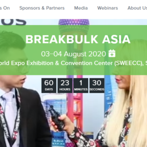 Conqueror media partner Hyve Group organizes Breakbulk Asia in Shanghai, on 3rd-4th August 2020