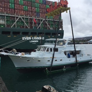 Conqueror Los Angeles coordinated the discharging of a yacht directly into the water
